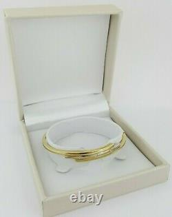 0.08 ct Roberto Coin 18k Gold Two-Tone Diamond Bracelet Bangle 9.4 g