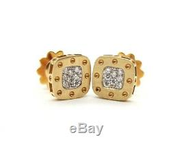0.24ct Roberto Coin Pois Moi 18kt Yellow Gold Square Diamond Stud Earrings. 10mm