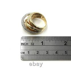 0.93ctw Roberto Coin Diamond Crossover Ring in 18K Yellow Gold