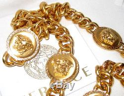 100% Authentic Bnwt $1395 Versace Signature Medusa Coin Long Chain Necklace 36