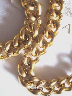 100% Authentic Bnwt $1395 Versace Signature Medusa Coin Long Chain Necklace 36