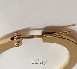 $1200 ROBERTO COIN 18k YELLOW GOLD SMALL FLAT PERFECT HOOP EARRINGS 45mm x 35mm