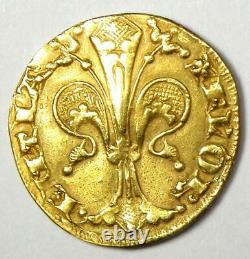1252-1422 Italy Florence Gold Florin St. John Coin AU Details (Ex-Jewelry)