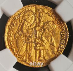 1382, Venice, Doge Antonio Venier. Gold Zecchino Ducat Coin. (3.54gm) NGC MS-62
