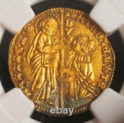 1400, Doges of Venice, Michele Steno. Gold Zecchino Ducat. (3.58gm!) NGC MS-62