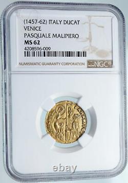 1457-62 ITALY Italian VENICE Doge PASQUALE MALIPIERO GOLD Ducato Coin NGC i89598