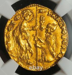 1457, Doges of Venice, Francesco Foscari. Gold Zecchino Ducat Coin. NGC MS-63