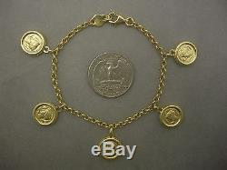 14k Gold Coin Cameo Motif Charm Bracelet 8.12 Gr Not Scrap