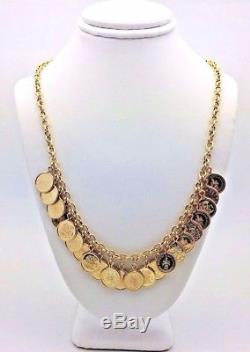 14K Gold 17 Emperador Maximiliano &Elizabeth II Del Gratia Regina Coin Necklace