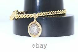 14K Gold Italy Coin Bracelet 7.5