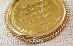 14K NECKLACE 1/4 oz FINE GOLD COIN 1996 TO SOAR ON WINGS OF FRAGILE VICTORY