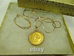 14K Solid Gold 17 L Chain Necklace with 21K $2.5 1905 Liberty Coin Pendant #1600