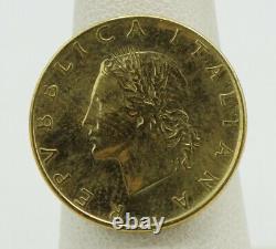 14K Yellow Gold Italia Lira Coin Milor Gold Ring Sz 6.75 21mm 4.6g S1486