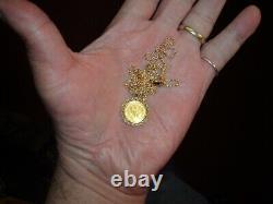 14K Yellow Gold Milor NECKLACE CHAIN & Panda Coin 1993 5 Yuan China. 999 1/20 oz