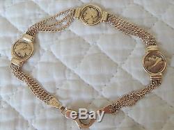 14K Yellow Gold Roman Coin Bracelet 11.1 gr