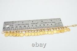 14k Yellow Gold Italy Mini Replica Gold Coin 22 Charm Bracelet 7.5