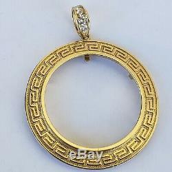 14k solid gold 6 Prong Greek Key 50 pesos Santanario Coin Bezel Frame pendant