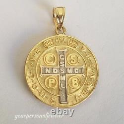 14k yellow Gold saint Benedict benito coin medallion Cross Pendant 1 inch 2side