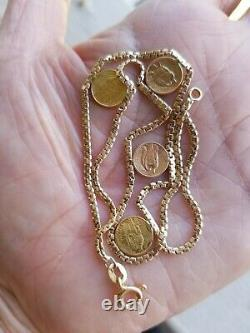 14k yellow gold coin link bracelet 7.5 6.6 grams