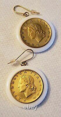 14kt Yellow Gold Italian Coin Milor Italy White Agate Onyx Dangle Drop Earrings