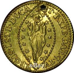 1539-1545 Italy Gold Ducat UNC Details Holed Beautiful Coin