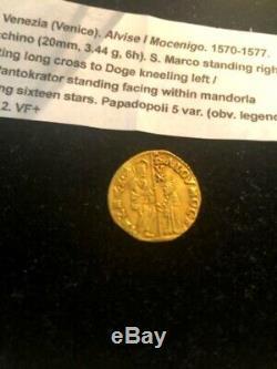 1570-1577 VENETIAN ZECCHINO GOLD COIN ALVISE I Mocenigo DOGE of VENICE ITALY
