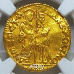 1646-1655 Italy 1Z Venice Gold Zecchino Molin Coin AU 55 NGC Free Shipping