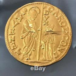 1655-1656 VENETIAN ZECHINO GOLD COIN CARLO CONTARINI DOGE of VENICE ITALY #Y80