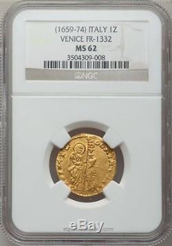 (1659-74) Italy (venice) Gold Zecchino Ngc Ms-62 Fr-1332