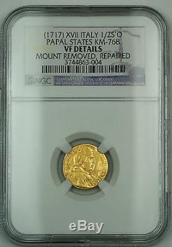 1717 XVII Italy 1/2 Scudo D'Oro Papal States KM-768 NGC VF Details Gold Coin
