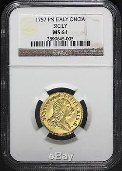 1757 PN Italy Sicily Oncia Gold Coin NGC MS 61 Graded KM# 190 RARE