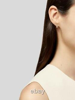 $1780 Roberto Coin Symphony Braided Diamond 18K Rose Gold Huge Hoop Earrings