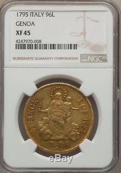 1795 Gold 96 Lire Italy Genoa, Very Rare, Ngc Xf-45