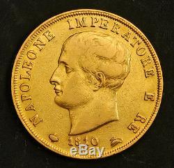 1810, Italy, Kingdom of Napoleon. Heavy Gold 40 Lire Coin. 12.86gm