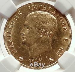 1812 ITALY Italian KINGDOM of NAPOLEON BONAPARTE Gold 40 Lire Coin NGC i71695