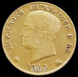 1813 /1805 Overdate Gold Kingdom Of Napoleon Italian State 20 Lire Coin