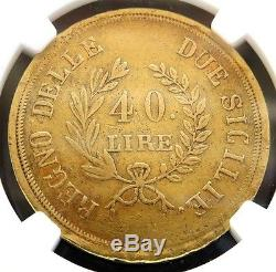 1813 Gold Naples & Sicily Italian States 40 Lire Coin Ngc Extremely Fine 40