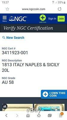 1813 Gioacchino Napoleone Murat 20 lire Italy GOLD NGC AU58. Extremely rare