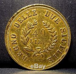 1813 Naples & Sicily 40 Lire Gold Kingdom Of Napolean 40l Italy Edelmans
