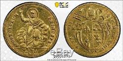 1817 (XVIII) Italian States PAPAL STATES Doppia Gold Coin PCGS AU-Details, ExJewl