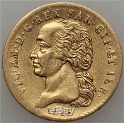 1818 Gold 20 Lire Italy Sardinia, Very Scarce Early Type
