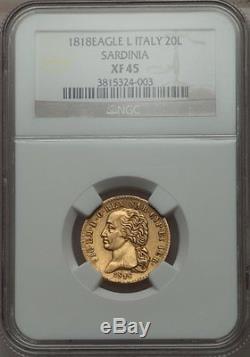 1818 Gold 20 Lire Italy Sardinia, Very Scarce, Ngc Xf-45