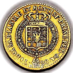 1820 Vittorio Emanuele I Italy Sardinia Gold 20 Twenty Lire Coin