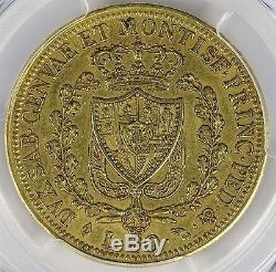1825-L Gold 80 Lire Italy Sardinia Eagle PCGS AU50