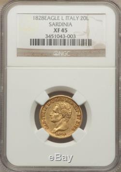 1828 Gold 20 Lire Italy Sardinia, Very Scarce, Ngc Xf-45