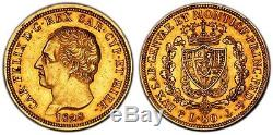 1828 Italy Sardinia Carlo Felice Gold 80 Lire Pcgs Au50