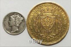 1830-P Sardinia Italy 80 Lire Gold Coin (. 7465 AGW) Scarce