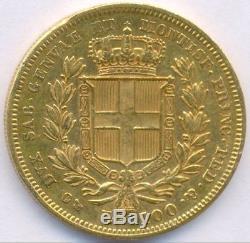 1834 Gold 100 Lire Italy Sardinia, Scarce Huge Coin
