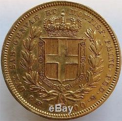 1834 Gold 100 Lire Italy Sardinia, Scarce Huge Coin, Aunc++