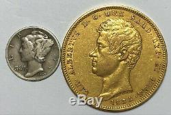 1834-P Sardinia Italy 100 Lire Gold Coin (. 9334 AGW) -C# 117.2- Scarce